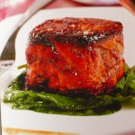 Beef filet on spinach